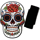 Sugar Skull Bath and Kitchen Mat Bundle - Skull Day of The Dead Bathroom Floor Mat (16 x 24 in), 2 Black Hand Towels (15 x 25
