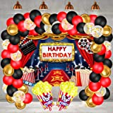 Hollywood Movie Theme Party Decorations, Large Fabric Hollywood Backdrop, Popcorn Foil Balloons Garland Arch Kit for Movie Ni
