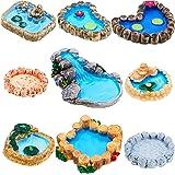Jetec 9 Pieces Fairy Garden Miniature Pond Ornaments Kit for Fairy Garden Decoration, Miniature Garden Accessories, Miniature