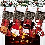 "Aitbay Christmas Stockings, 4 Pack 18"" Big Xmas Stockings, Burlap Plaid Style with Snowflake Santa Snowman Reindeer and Plush"
