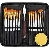 Paint Brushes Set for Acrylic Oil Painting 15Pcs Professional Canvas Paint Brush Kit with Palette Knife Sponge Pop-Up Carryin