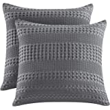 "PHF Waffle Weave Euro Sham Cover 26"" X 26"" 100% Cotton Throw Pillow Cover Pack of 2 Dark Grey"