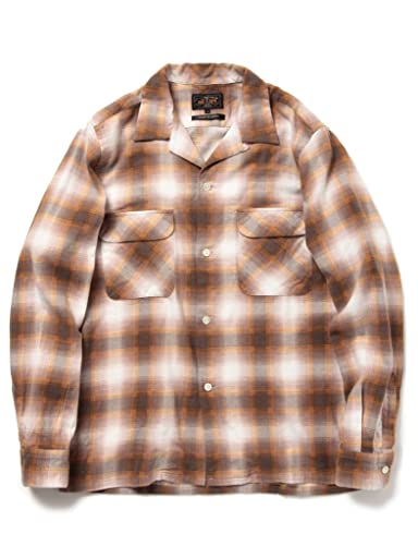 Ombre Flannel Camp Shirt 11-11-3443-139: Brown
