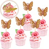 Ercadio 24 Pack Double Layers Butterfly Cupcake Toppers Assembled Gold and Rose Gold Glitter Butterfly Cupcake Picks Decorati