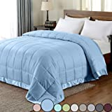 downluxe Lightweight King Down Alternative Blanket with Satin Trim, Cool Blue