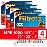 Filtrete Micro Allergen Defense AC Furnace Air Filter, MPR 1000, 20 x 20 x 1-Inches, 4-Pack