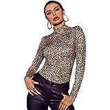 Romwe Women's Leopard Long Sleeve High Neck Stretch Slim Fit T Shirt Tee Tops