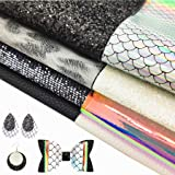 AOUXSEEM 8 Pcs A4 Size Mixed Faux Leather Sheets Bundles for Earrings Bows Handbags Purses Jewelry Making, Various Embossed L