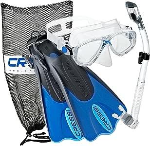 Cressi Palau Mask Fin Snorkel Set with Snorkeling Gear Bag, Blue, L/XL | (Men's 10-13) (Women's 11-14) 141[並行輸入]
