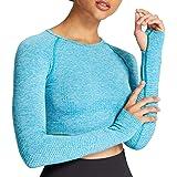 Aoxjox Women's Vital Seamless Workout Long Sleeve Crop Top Gym Sport Shirts