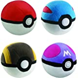 Poke Ball Collection 4pc Complete Plush Set - PokeBall GreatBall UltraBall MasterBall 13cm Plushes (discontinued by manufactu