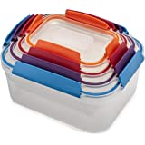 Joseph Joseph 81098 Nest Lock Plastic Food Storage Container Set with Lockable Airtight Leakproof Lids, Multicolored 8-Piece