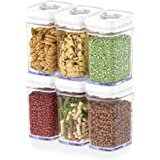 DWËLLZA KITCHEN Airtight Food Storage Containers with Lids - 6 Piece Set/All Same Size - Medium Air Tight Snacks Pantry & Kit
