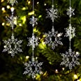 36 Pieces Plastic Crystal Snowflake Ornament Acrylic Xmas Snowflake for Christmas Winter DIY Decoration, Assorted Sizes 1.7/3