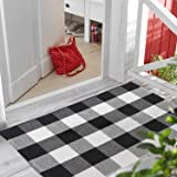 TimHome - Outdoor Rug 27.5 x 43 Inches, Porch Rugs Outdoor Black/White, Buffalo Plaid Outdoor Rug - Front Porch Decorations -