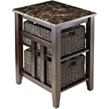 Winsome Zoey Solid Wood Side Table Faux Marble Top with 2 Baskets - Chocolate