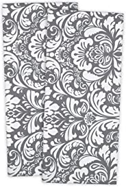 DII 100% Cotton, Everyday Basic Kitchen Dishtowel, Tea Towel, Drying, Damask Printed, 18 x 28 Set of 2- Gray