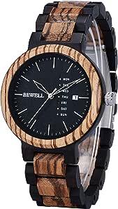 Bewell 腕時計 木製 メンズ 曜日 日付き アナログ腕時計 日本製クオーツ 天然木 ウッドウォッチ 贈り物 誕生日ギフト (黒檀とゼブラウッド)