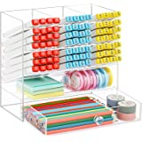 Marbrasse Acrylic Pen Organizer Storage, Upgraded Acrylic Desk Organizer with 10 Compartments + Drawer, Pen Holder for Desk,