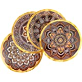 Placemats, Set of 4 Heat Resistant Waterproof Non-Slip Boho Round Placemats for Dining Table,Washable Durable PVC Table Mats