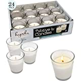 Hyoola White Votive Candles - 24 Pack - Clear Glass Cups, Unscented, Long 12 Hour Burn Time - for Party Decorations, Birthday