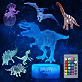 Dinosaur Night Light for Kids, 3D Dinosaur Toys (5 Patterns) Dimmable with Remote Control & 16 Colors Changing & Smart Touch,