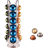 EXZACT Coffee Capsule Holder, Compatible with Vertuo Nespresso Pods (24pcs) - Rotating Pod Tower Rack