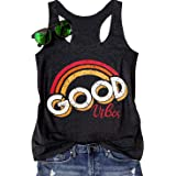 LANMERTREE Good Vibes Tank Top Women Vintage Rainbow Shirt Summer Cute Casual Graphic Tees Funny Workout Vest Tops