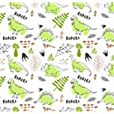 Green Dinosaur Wrapping Paper Birthday Gift, Folded Flat 30 x 20 Inch, 3 Sheets