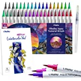 Ohuhu Professional Watercolor Brush Markers Pens Set, 36 Colors Water-Based Paint Marker With 12-Sheet Watercolor Pad & A Ble