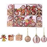 TWBB Christmas Balls Ornaments 26ct Includes Xmas Ball, Box,Christmas Bell for Christmas Tree Xmas Tree Decorations (Rose Gol