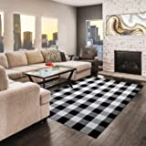 "NANTA Cotton Buffalo Plaid Rug 52"" x 71"" (4.3' x 6') Buffalo Check Rug Black and White Rug Indoor Outdoor for Living Room/Din"