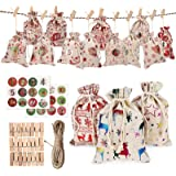 24 PCS Christmas Burlap Linen Bags with Drawstrings Christmas Burlap Goody Gift Bags with Double Jute Drawstrings+Wood Clips+