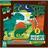 Mudpuppy 9780735355675 Mighty Dinosaurs Magnetic Jigsaw Puzzle, Two 20-Piece Puzzles In Tri-Fold Travel Portfolio, Ages 4 And