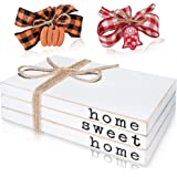 Wooden Decorative Books for Coffee Table - Stack of 3 Faux Books for Decoration, 8''x 5''x 2.25''- Home Sweet Home Modern Far