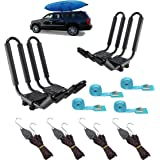 Mrhardware Kayak Roof Rack for SUV Car Top Roof Mount Carrier J Cross Bar Canoe Boat (2 Pairs)