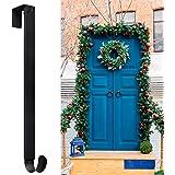 """Myfolrena Adjustable Wreath Hanger from 15""""-24"""", Metal Wreath Hook for Front Door, 20lb (Black-1 Pack)"""