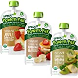Sprout Organic Stage 4 Toddler Food Power Pak Pouches, Variety Pack, 4 Ounce (Pack of 18) 6 of Each Superblend: Strawberry Ba