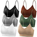 selizo Padded Bralettes for Women, 6 Pcs Sports Bras for Women Pack, V Neck Cami Bando Bra for Women Girls