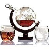 Whiskey Globe Decanter Set Etched World Globe Decanter for Liquor, Bourbon, Vodka with 2 Glasses in Premium Gift-Box - Home B
