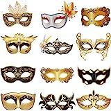 12 Pieces Mechanical Venetian Mask Mardi Gras Masquerade Mask Set for Carnival Prom Steam Punk Masks Retro Masquerade Mask Ma