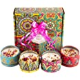 Scented Candles with Dried Flowers Candle Gifts Set, 4.4 Oz Soy Wax Burn Time 120 Hours Aromatherapy Holiday Gift with Pull B