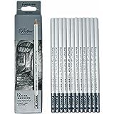 12pcs/pack Artist Charcoal Pencils - Black Color Soft Medium Hard - White Pastel Color - Black Charcoal White Pastel Drawing