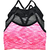 ToBeInStyle Women's 3 Pack Seamless Sports Bras w/Adjustable Y Strap Back