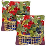 Toland Home Garden 761218 Geranium Basket 18 x 18 Inch Indoor/Outdoor, Pillow, Case (2-Pack)