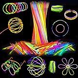 Attikee 840 PCS Glow Sticks Bulk for Glow Party Favors - (8 Inch, 7 Colors), 400 PCS Bendable Glow Sticks & 440 PCS Connector