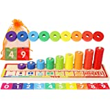 Wooden Stacking Rings and Counting Games with 45 Rings Number Blocks- Counting Ring Stacker-Wooden Sorting Counting Toy for 3