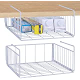 Simple Gear 2-Pack Under Cabinet Shelf Basket Organizer, Steel Metal Wire Rack Hanging Storage Baskets Holds up to 22lbs for