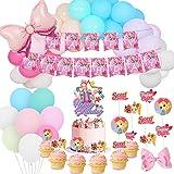 JoJo Birthday Party Supplies Pack Include Happy Birthday Banner - Rainbow Balloon Garland Kit - Cake Topper - 24 Cupcake Topp