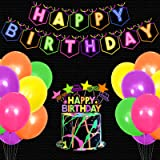 Let's Glow Birthday Party Decoration Set Glow In The Dark Happy Birthday Banner Neon Cake Cupcake Topper Teenager B-Day Party